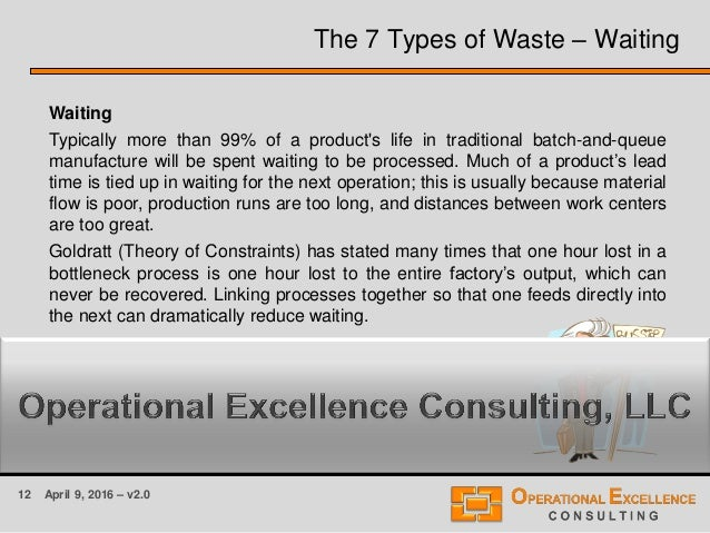 12 April 9, 2016 – v2.0 The 7 Types of Waste – Waiting Waiting Typically more than 99% of a product's life in traditional ...