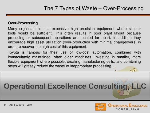 14 April 9, 2016 – v2.0 The 7 Types of Waste – Over-Processing Over-Processing Many organizations use expensive high preci...
