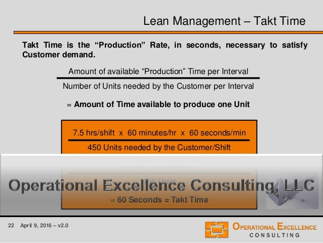 """22 April 9, 2016 – v2.0 Lean Management – Takt Time Takt Time is the """"Production"""" Rate, in seconds, necessary to satisfy C..."""