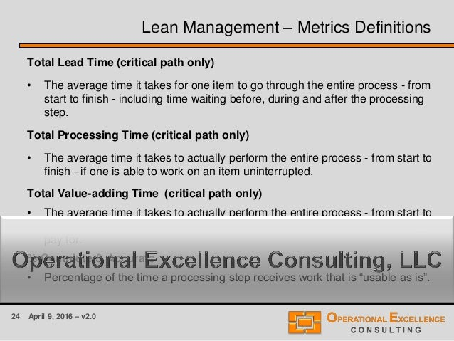 24 April 9, 2016 – v2.0 Lean Management – Metrics Definitions Total Lead Time (critical path only) • The average time it t...