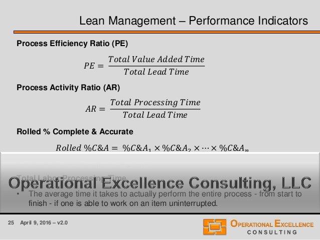 25 April 9, 2016 – v2.0 Lean Management – Performance Indicators Process Efficiency Ratio (PE) Process Activity Ratio (AR)...