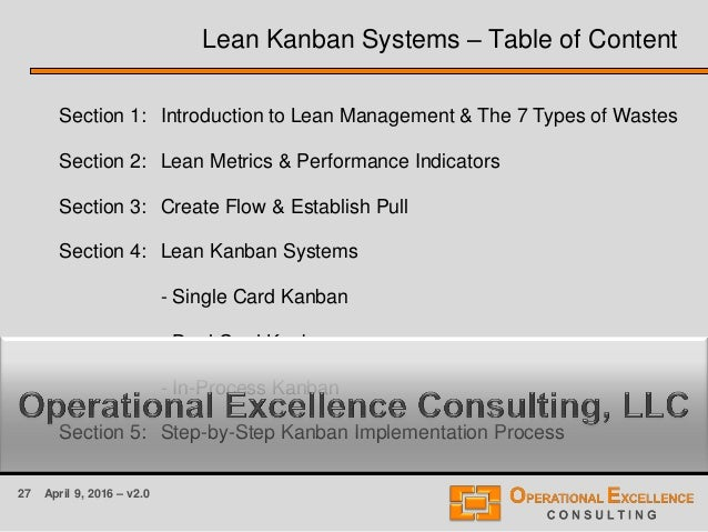 27 April 9, 2016 – v2.0 Section 1: Introduction to Lean Management & The 7 Types of Wastes Section 2: Lean Metrics & Perfo...