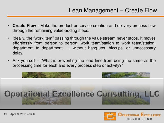 29 April 9, 2016 – v2.0 Lean Management – Create Flow • Create Flow - Make the product or service creation and delivery pr...