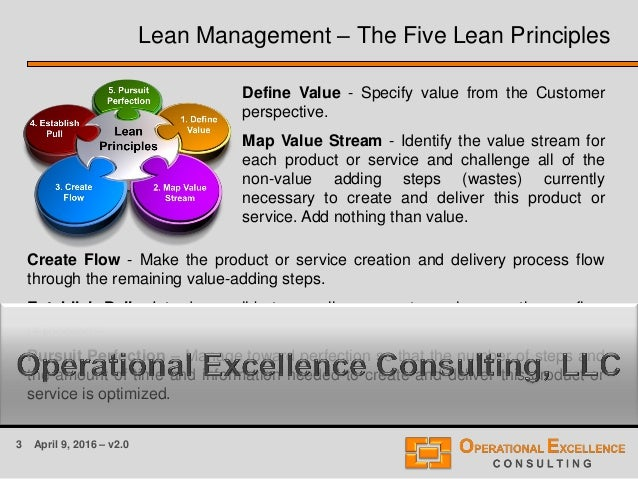 3 April 9, 2016 – v2.0 Lean Management – The Five Lean Principles Define Value - Specify value from the Customer perspecti...