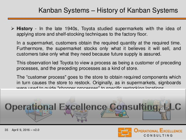 35 April 9, 2016 – v2.0  History - In the late 1940s, Toyota studied supermarkets with the idea of applying store and she...