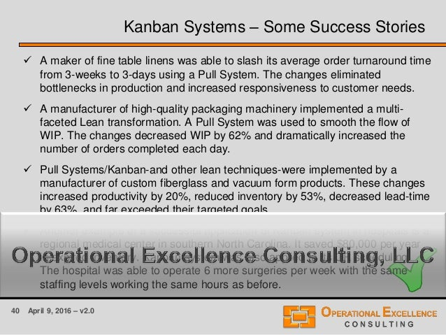40 April 9, 2016 – v2.0 Kanban Systems – Some Success Stories  A maker of fine table linens was able to slash its average...