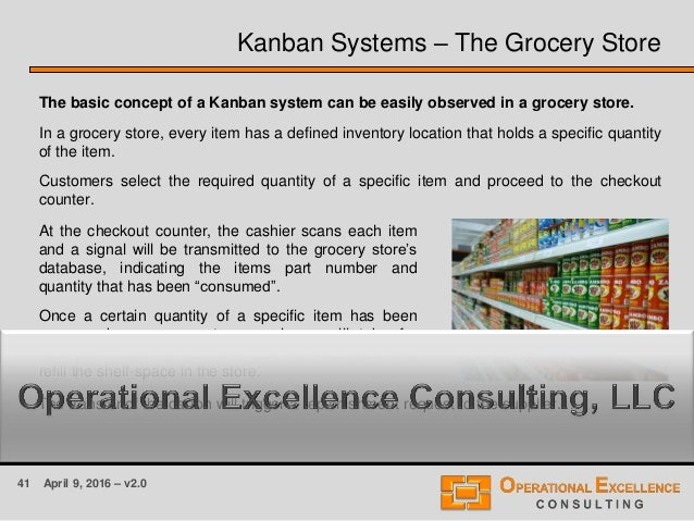 41 April 9, 2016 – v2.0 Kanban Systems – The Grocery Store The basic concept of a Kanban system can be easily observed in ...