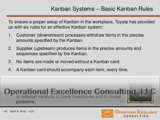 42 April 9, 2016 – v2.0 Kanban Systems – Basic Kanban Rules To ensure a proper setup of Kanban in the workplace, Toyota ha...