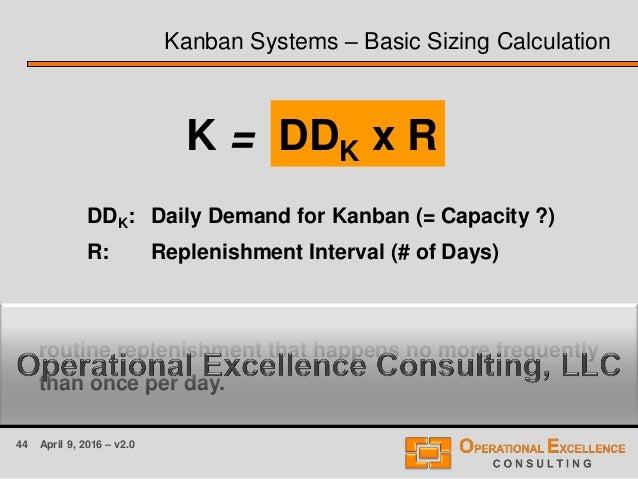 44 April 9, 2016 – v2.0 Kanban Systems – Basic Sizing Calculation DDK x R DDK: Daily Demand for Kanban (= Capacity ?) R: R...