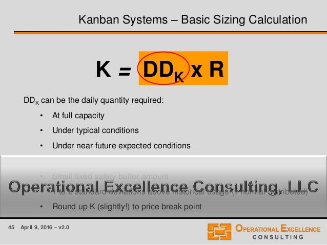 45 April 9, 2016 – v2.0 Kanban Systems – Basic Sizing Calculation DDK can be the daily quantity required: • At full capaci...