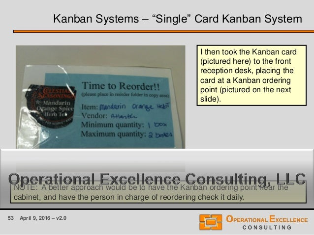 53 April 9, 2016 – v2.0 I then took the Kanban card (pictured here) to the front reception desk, placing the card at a Kan...