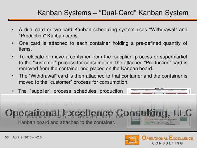 """56 April 9, 2016 – v2.0 Kanban Systems – """"Dual-Card"""" Kanban System • A dual-card or two-card Kanban scheduling system uses..."""