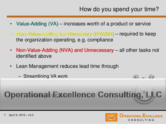 7 April 9, 2016 – v2.0 How do you spend your time? • Value-Adding (VA) – increases worth of a product or service • Non-Val...