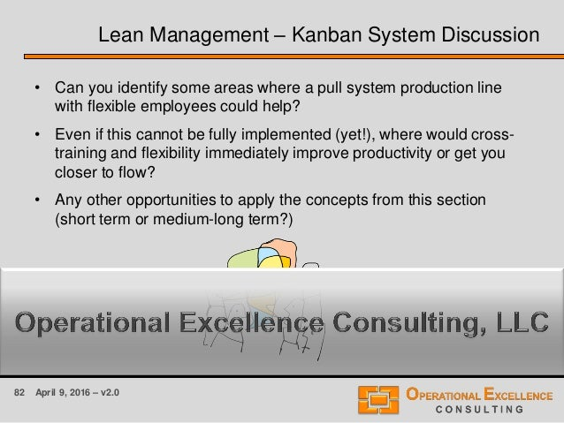 82 April 9, 2016 – v2.0 Lean Management – Kanban System Discussion • Can you identify some areas where a pull system produ...