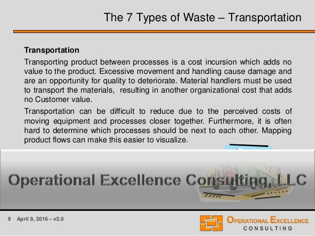 9 April 9, 2016 – v2.0 The 7 Types of Waste – Transportation Transportation Transporting product between processes is a co...