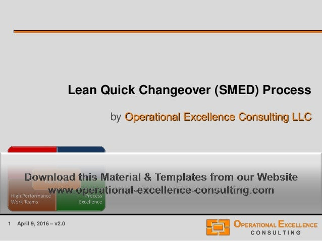 1 April 9, 2016 – v2.0 Lean Quick Changeover (SMED) Process by Operational Excellence Consulting LLC