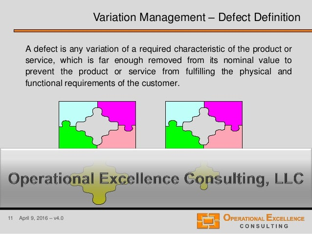 11 April 9, 2016 – v4.0 A defect is any variation of a required characteristic of the product or service, which is far eno...