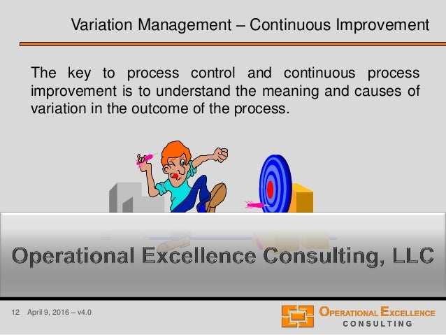 12 April 9, 2016 – v4.0 The key to process control and continuous process improvement is to understand the meaning and cau...
