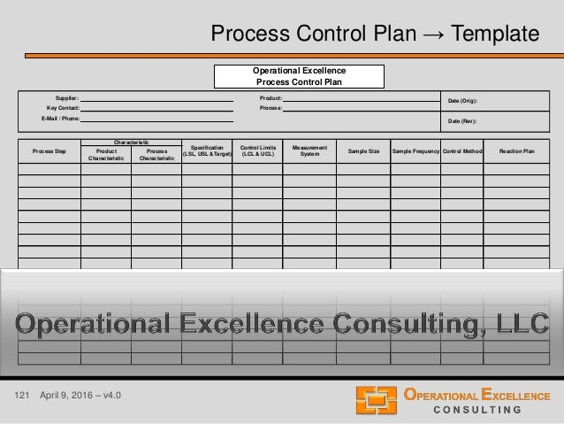 121 April 9, 2016 – v4.0 Process Control Plan → Template Supplier: Product: Key Contact: Process: E-Mail / Phone: Product ...
