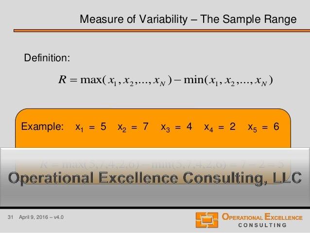 31 April 9, 2016 – v4.0 Example: x1 = 5 x2 = 7 x3 = 4 x4 = 2 x5 = 6 Measure of Variability – The Sample Range ),...,,min()...