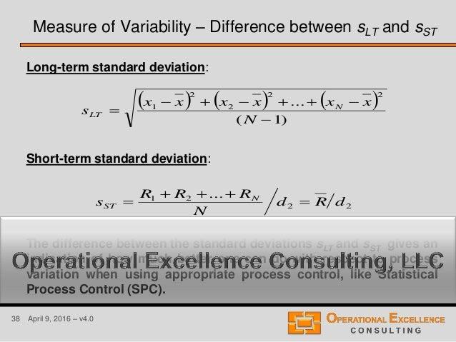 38 April 9, 2016 – v4.0 Long-term standard deviation: Short-term standard deviation: The difference between the standard d...