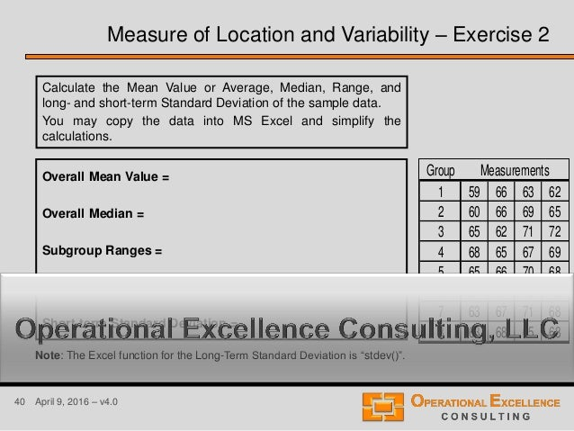 40 April 9, 2016 – v4.0 Measure of Location and Variability – Exercise 2 Calculate the Mean Value or Average, Median, Rang...