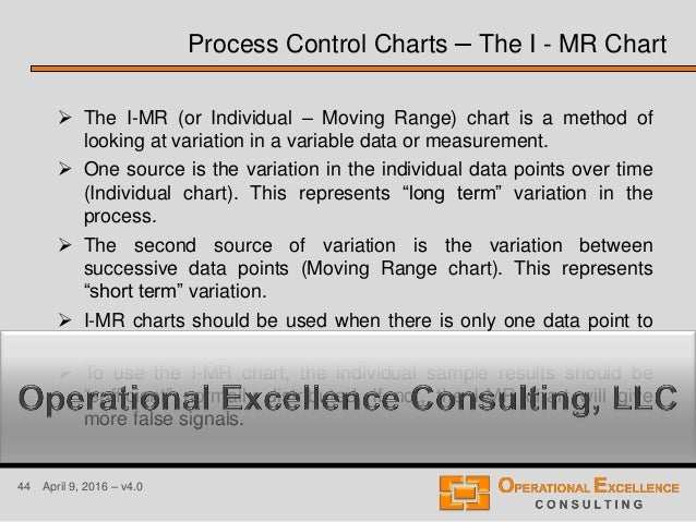 44 April 9, 2016 – v4.0  The I-MR (or Individual – Moving Range) chart is a method of looking at variation in a variable ...