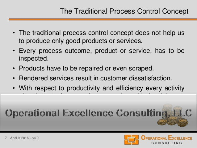 7 April 9, 2016 – v4.0 • The traditional process control concept does not help us to produce only good products or service...