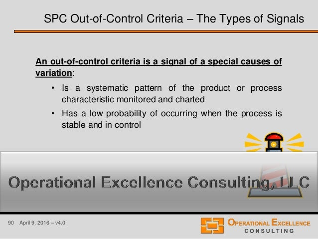 90 April 9, 2016 – v4.0 An out-of-control criteria is a signal of a special causes of variation: • Is a systematic pattern...