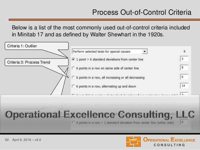 92 April 9, 2016 – v4.0 Process Out-of-Control Criteria Below is a list of the most commonly used out-of-control criteria ...