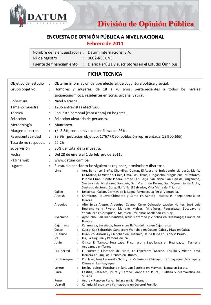 División de Opinión Pública                       ENCUESTA DE OPINIÓN PÚBLICA A NIVEL NACIONAL                            ...