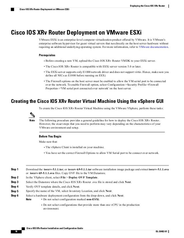 Cisco IOS XRv Router Installation and Configuration Guide