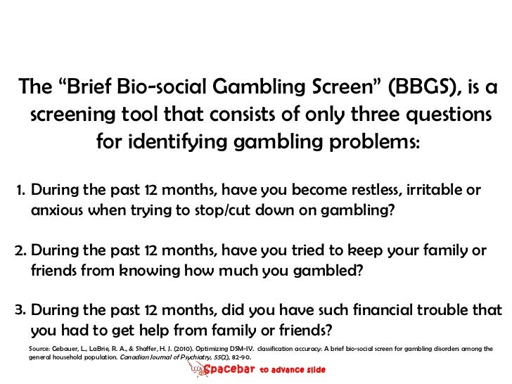 Brief biosocial gambling screen the theory of gambling and statistical knowledge