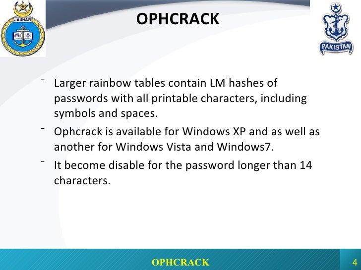 ophcrack windows xp