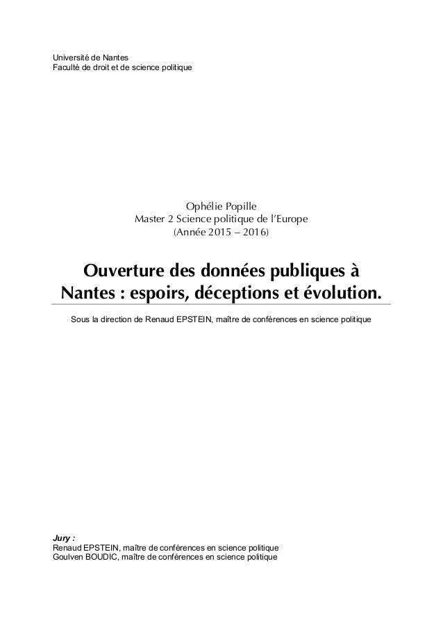 Université de Nantes Faculté de droit et de science politique Ophélie Popille Master 2 Science politique de l'Europe (Anné...
