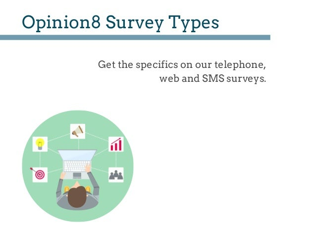 Opinion8 Survey Types Get the specifics on our telephone, web and SMS surveys.