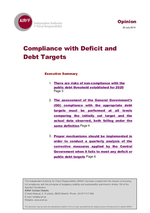 Opinion on Compliance with Deficit and Debt Targets