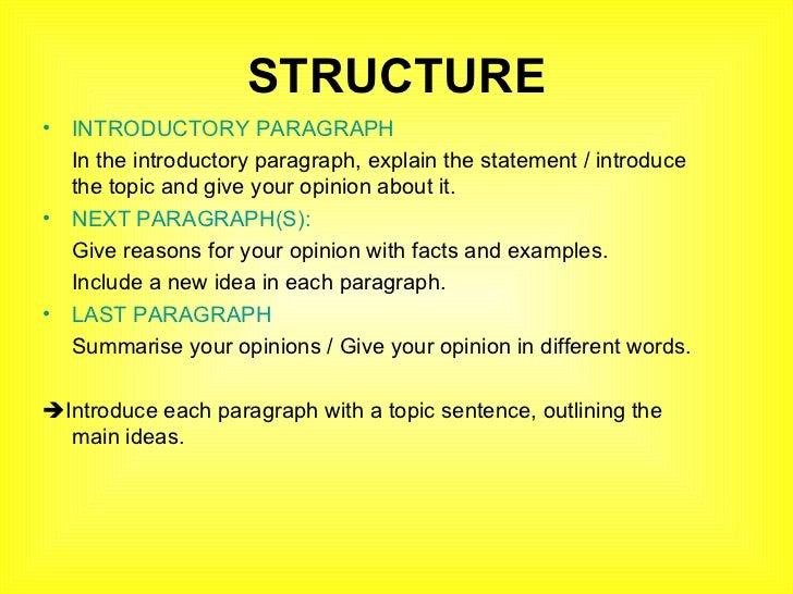 what is the structure of an opinion essay