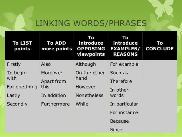 linking words and phrases opinion essay Toefl ibt - essay writing / linking words / labels: ibt, linking words, toefl 8 important since i am a writer and i constantly use the phrases.