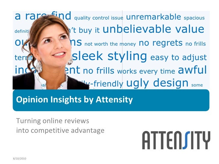 8/10/2010<br />Opinion Insights by Attensity<br />Turning online reviews into competitive advantage<br />