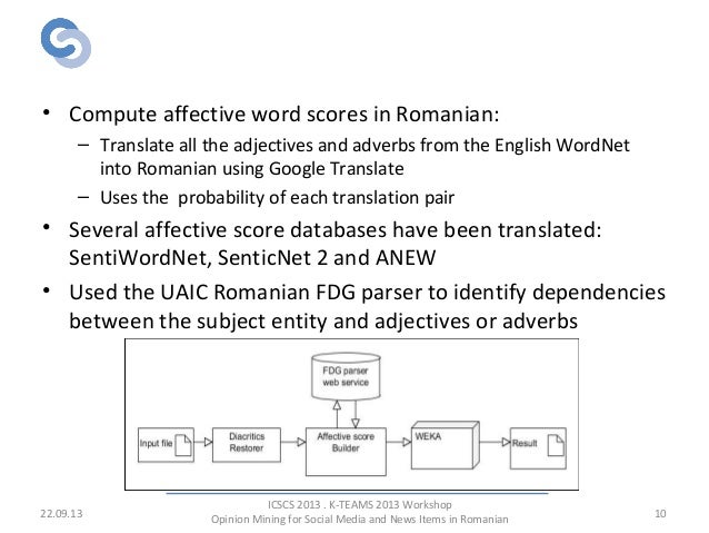 Affective Scores & Dependency Parsing • Compute affective word scores in Romanian: – Translate all the adjectives and adve...