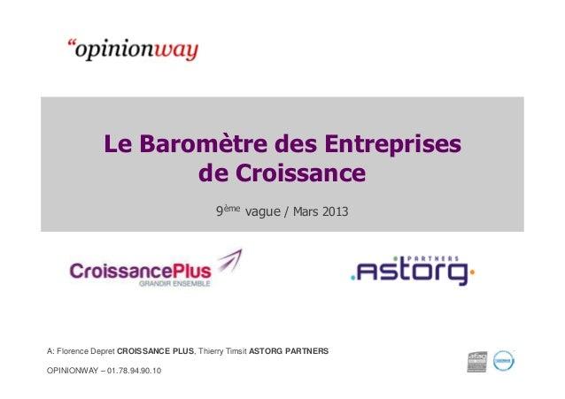Le Baromètre des Entreprises de Croissance 9ème vague / Mars 2013  A: Florence Depret CROISSANCE PLUS, Thierry Timsit ASTO...