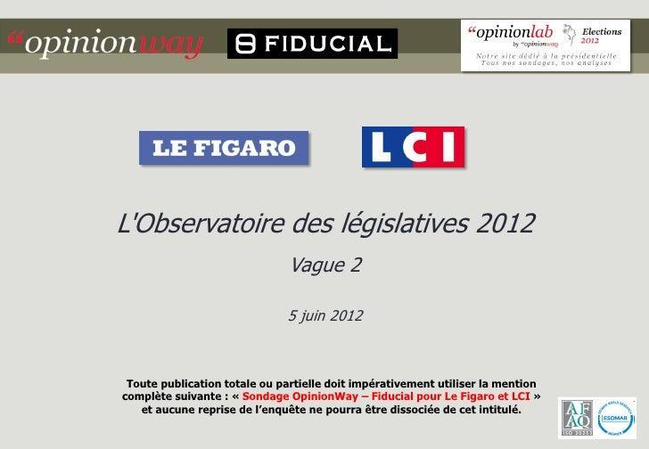 LObservatoire des législatives 2012                               Vague 2                              5 juin 2012 Toute p...