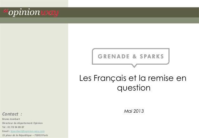 Les Français et la remise en question Contact    :   Bruno  Jeanbart   Directeur  du  département  Opinion...