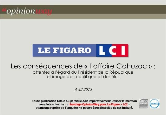Les conséquences de « l'affaire Cahuzac » : attentes à l'égard du Président de la République et image de la politique et d...