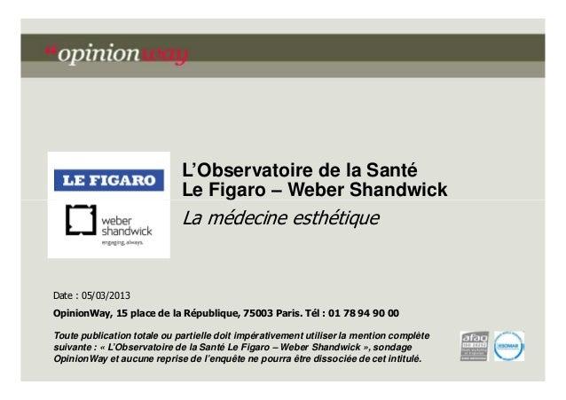 L'Observatoire de la Santé Le Figaro – Weber Shandwick  La médecine esthétique  Date : 05/03/2013 OpinionWay, 15 place de ...