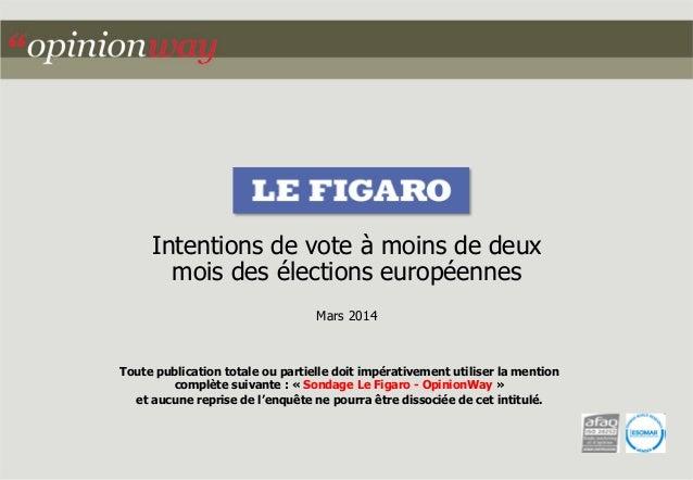 Intentions de vote à moins de deux  mois des élections européennes  Mars 2014  Toute publication totale ou partielle doit ...