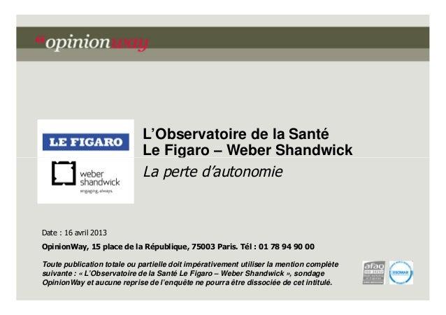 L'Observatoire de la Santé Le Figaro – Weber Shandwick La perte d'autonomie  Date : 16 avril 2013 OpinionWay, 15 place de ...