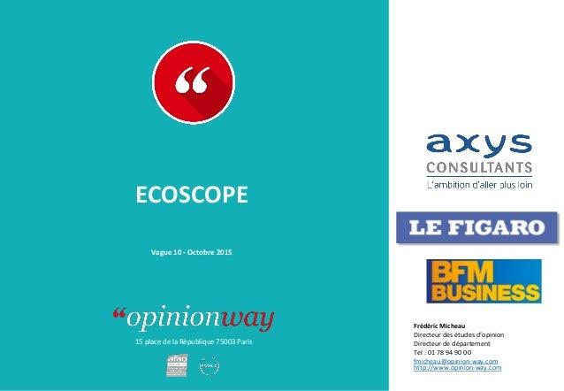 15 place de la République 75003 Paris ECOSCOPE Vague 10 - Octobre 2015 Frédéric Micheau Directeur des études d'opinion Dir...