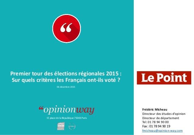 15 place de la République 75003 Paris Premier tour des élections régionales 2015 : Sur quels critères les Français ont-ils...
